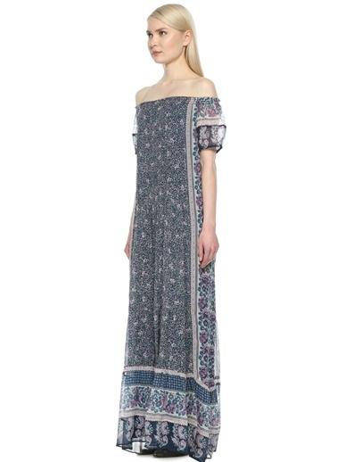 Kayık Yaka Çiçekli Uzun Elbise-Joie